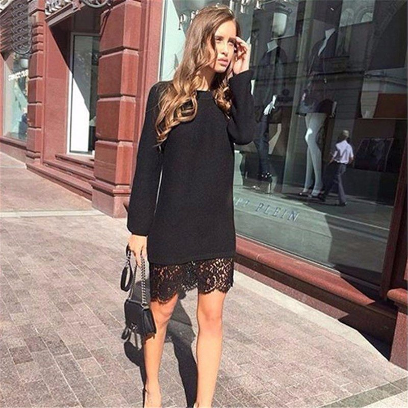 ff22373cc857 2019 Women Sweater Dress Sexy Black Lace Office Dress Party Bodycon Dresses  Casual Mini Dress Slim Long Sleeve Vestidos-in Dresses from Women's Clothing  on ...