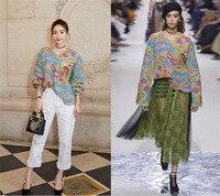 Wang Likun та же Европейская станция осень/зима 2019 Новый Тяжелый рабочий крючок вязаный свитер прогулки показать свободный свитер женщин