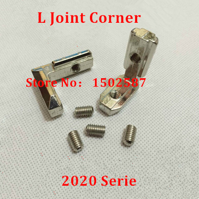 10pcs L shape <font><b>T</b></font> <font><b>Slot</b></font> Inside Interior Corner Connector Joint Brackets with M4 Screws for <font><b>2020</b></font> Series Aluminum profile Accessories image