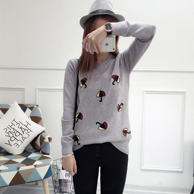 Свитер женщины весна осень зима 2016 feminina новый вышивка свободные вязать милый сладкий свитера женский A2364