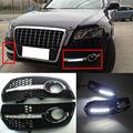 LED Blanco Luces de Circulación Diurna DRL Del Coche de Conducción Luces de Niebla Cubierta de La Lámpara Para Audi Q5 2010 2011 2012 2013