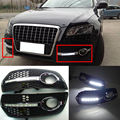 LED White Daytime Running Lights DRL Car Driving Lights Fog Lamp Cover For Audi Q5 2010 2011 2012 2013