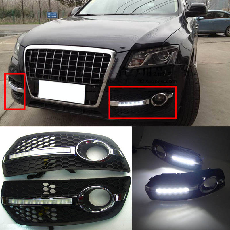 LED feux de jour blancs DRL voiture feux de conduite couverture de lampe de brouillard pour Audi Q5 2010 2011 2012 2013