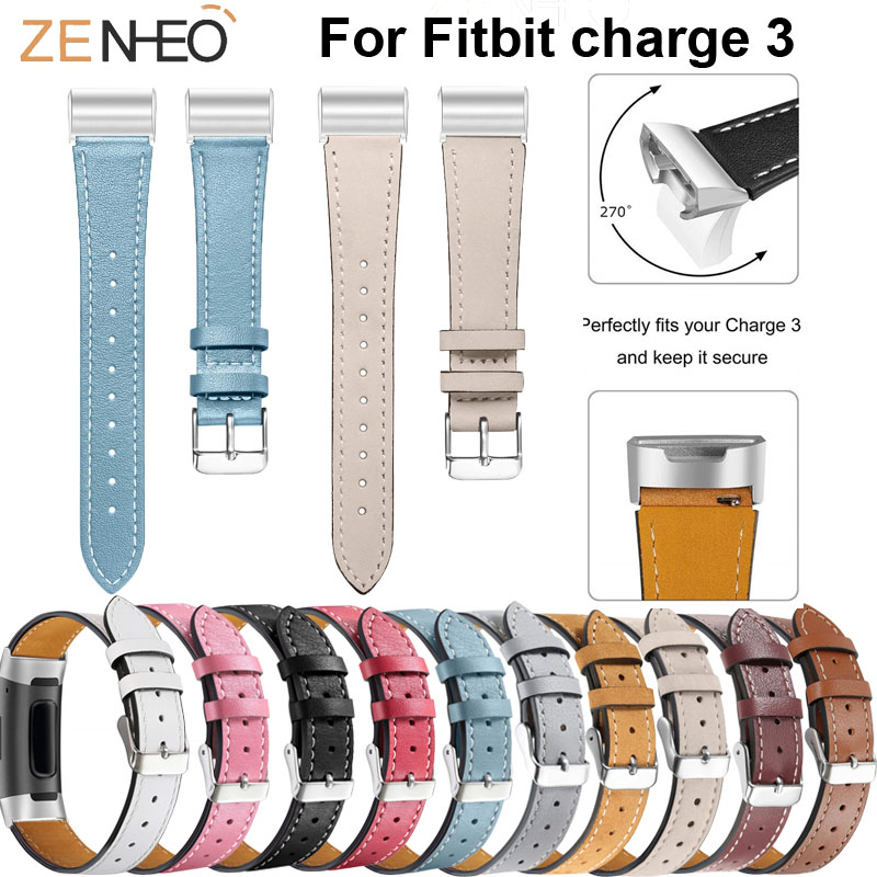 Colorful Leather Wristband For Fitbit Charge 3 watch Bracelet Straps Smart watches Strap Men womens band