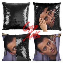 חברים טלוויזיה להראות נצנצים כריות ג ואי Tribbiani ציטוט בית תפאורה, כיסוי כרית, מתנה עבור שלה, מתנה בשבילו, חנוכת בית מתנה, Gra