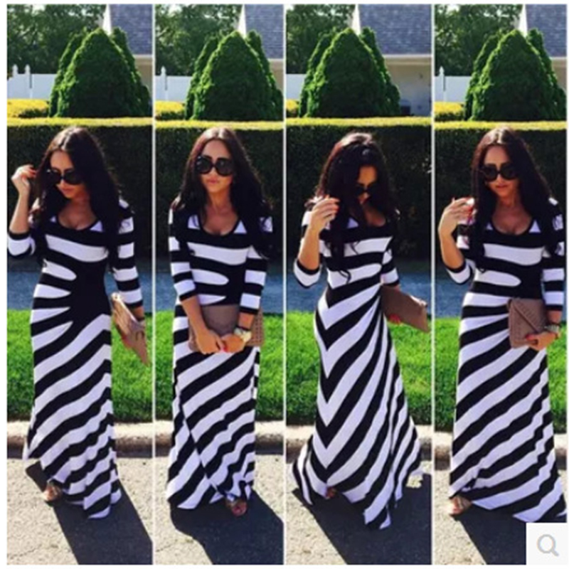 Newest Arrival Spring And Autumn Woman Dresses Striped Zebra Printing Long Holiday Beach Maxi Dress S