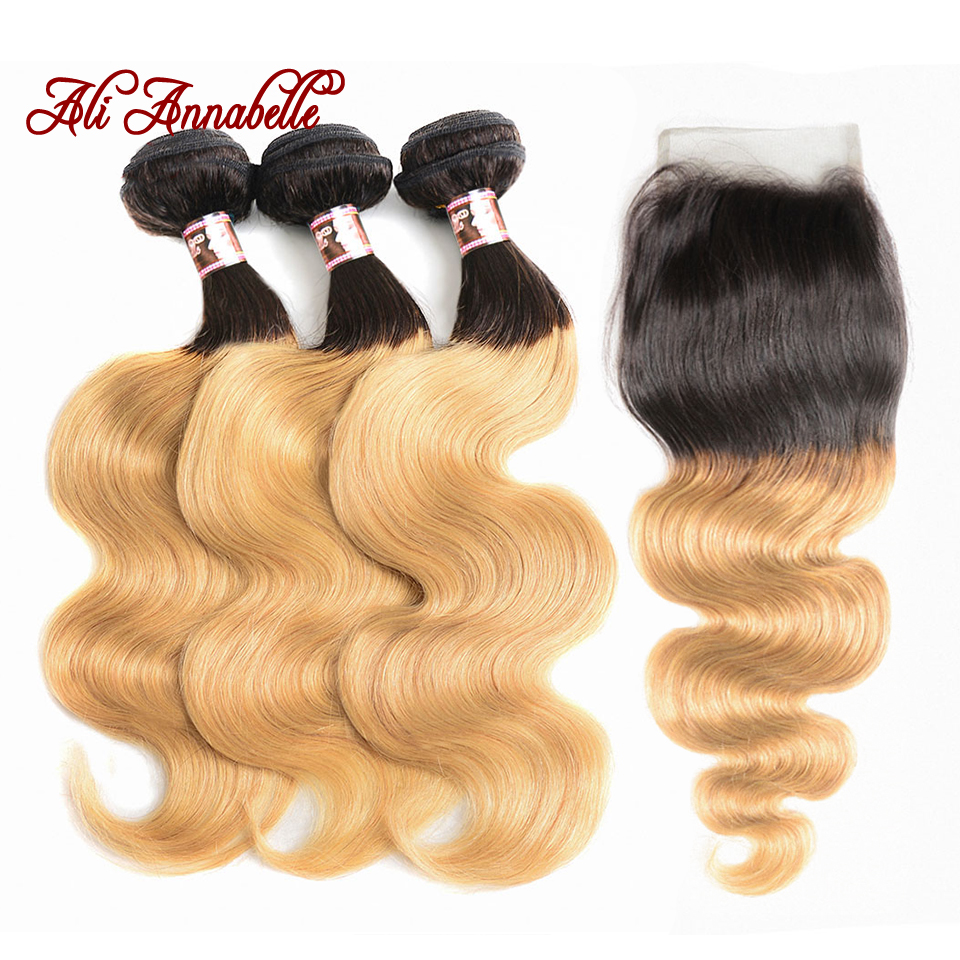 ALI ANNABELLE HAIR Ombre 1B 27 Brazilian Body Wave Human Hair Weave Bundles 2 Tone Blonde