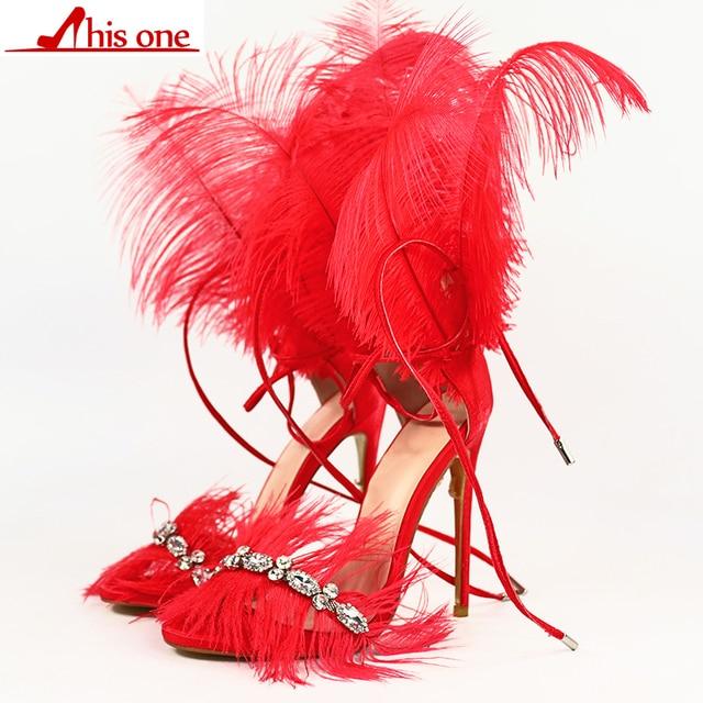 Multiple colors Feather Sandals for women Ostrich hair decor Thin high heels dance Shoes ladies Fur sandals T Show Party Shoes