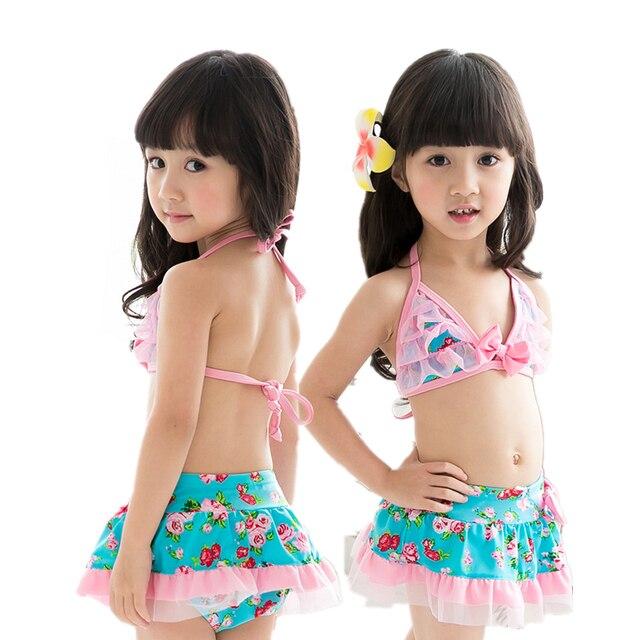 2018 sommer Kinder Nette Spitze Blumen Muster Split Bikini Badeanzug  Mädchen Zwei stücke Bademode Rosa Prinzessin