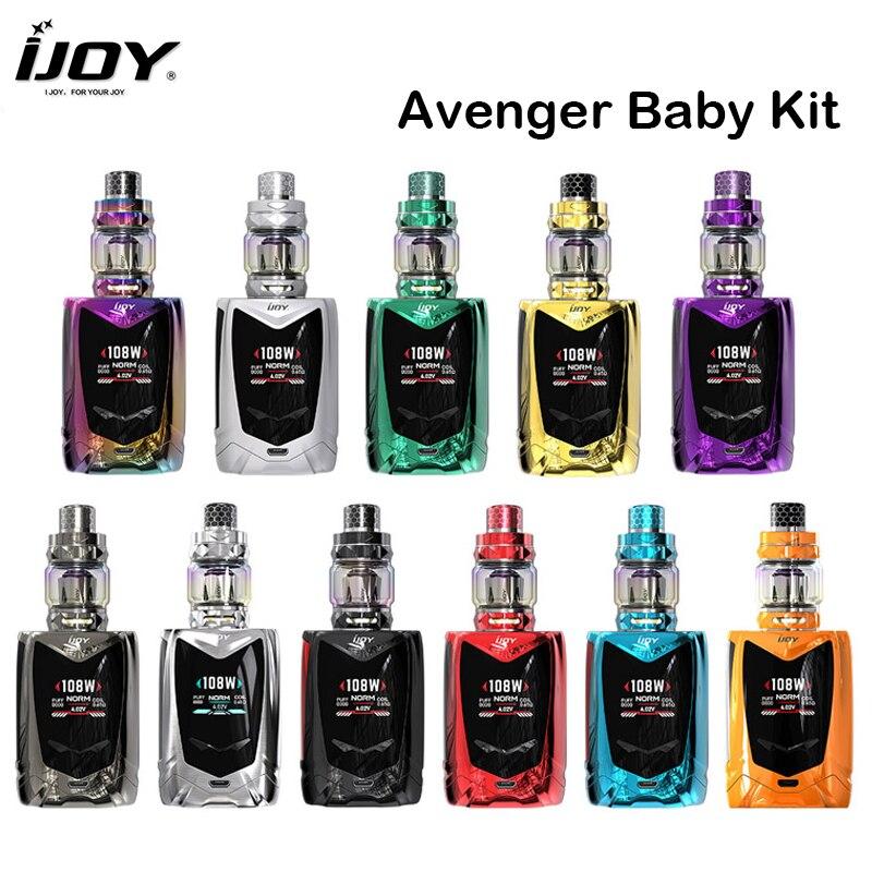 IJOY Avenger bébé Kit 108 W Avenger bébé commande vocale boîte Mod avec diamant bébé réservoir 4 ML Fit dmb-mesh bobine E Cigarette vapeur
