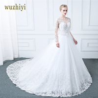Wuzhiyi Vestidos De Noiva Long Sleeves Wedding Dress Appliques Lace Pearls Wedding Dresses Matrimonio Vestido De