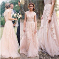Vintage 2016 Lace Wedding Dresses Champagne V-Neck Appliques Ruffles Cap Sleeve Bridal Gowns W33