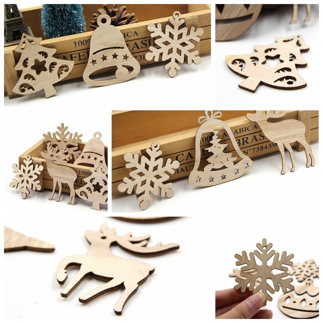 10PCS DIY Christmas Snowflakes&Deer&Tree Wooden Pendant Ornaments For Christmas Party Xmas Tree Ornaments Kids Gifts Decorations 14