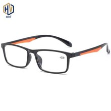 Fashion TR90 Men Square Reading Glasses Women Two Tone Splice Small Frame +1.0+1.5+2.0+2.5+3.0+3.5+4.0
