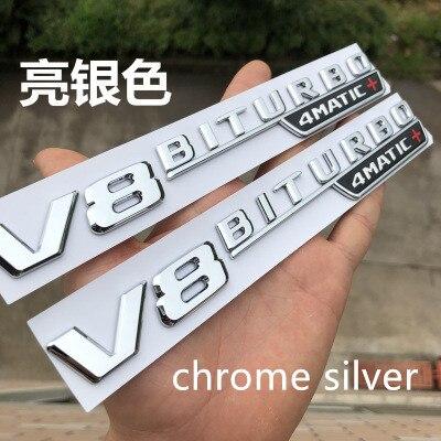 5 sets V8 BITURBO 4matic+ car fender emblem sticker for Mercedes Benz AMG w117 cla45 w205 c63 w212 e63 w207 w176 a45 x156 gla45-in Car Stickers from Automobiles & Motorcycles    3