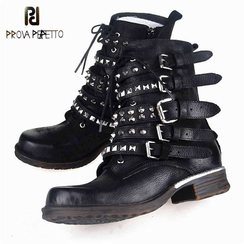 Prova Perfetto Vintage Style Handsome Motorcycle Lace-Up Plush In Genuine Leather Woman Ankle Boots Rivets Design Low Heel Shoes