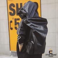 ETONWEAG Brands Cow Leather School Backpacks For Boys Black Zipper School Bags Designer Hooded Travel Backpack Rainproof BagPack