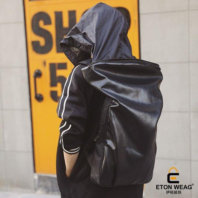 ETONWEAG Brands Cow Leather School Backpacks For Boys Black Zipper School  Bags Designer Hooded Travel Backpack Rainproof BagPack 694dcc8dc2
