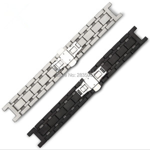 Image 2 - New Arrival 316L Stainless Steel Watchband Concave Mouth 22*13mm 20*11mm Silver Black Bracelet with Butterfly Clasp For GC Watch