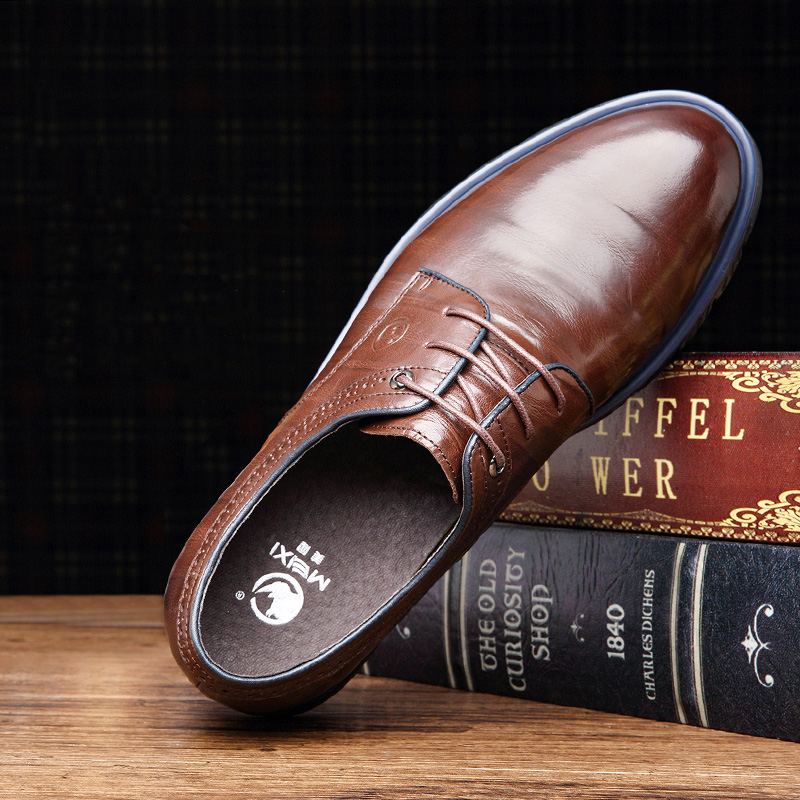 2018 Men Flats Fashion High Quality Genuine Leather Shoes Men,Lace-Up - Men's Shoes - Photo 4