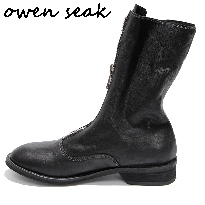 Owen Seak Women Casual Shoes High TOP Sheepskin Leather Boots Luxury Trainers Sneaker Zip Flats Riding