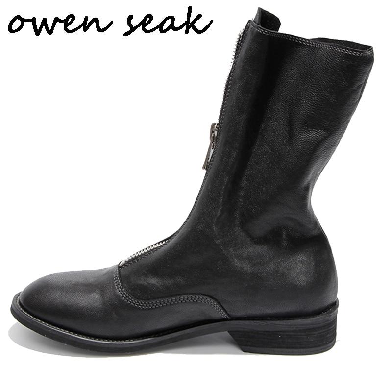 Ayakk.'ten Diz Altı Çizmeler'de Owen Seak Kadınlar rahat ayakkabılar Yüksek TOP Koyun Derisi Deri Çizmeler Lüks Eğitmenler Sneaker Zip Flats Sürme Siyah beyaz ayakkabı'da  Grup 1