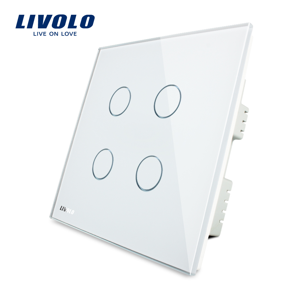 Livolo UK standad  4gang Wall Light Touch Switch,AC 220-250V ,White Crystal Glass Panel, VL-C304-61 2017 smart home crystal glass panel wall switch wireless remote light switch us 1 gang wall light touch switch with controller