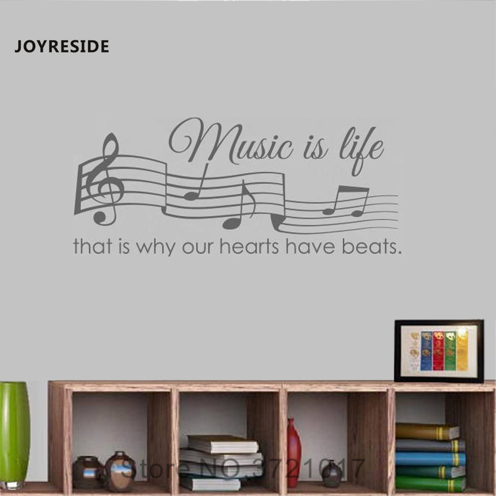 US $5 93 25% OFF|JOYRESIDE Quote Wall Music Is Life That's Why Our Hearts  Have Beats Decal Vinyl Sticker Kids Room Bedroom Decor Decoration A101-in