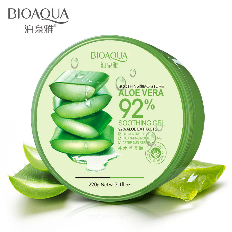 BIOAQUA 220g Whitening Natural aloe vera Smooth Gel Acne Treatment Face Anti-Aging Cream for Hydrating Moist Repair After Sun 500g gmp certified aloe vera pow der whitening keep the skin moist remove the spot anti aging hot sale free shipping