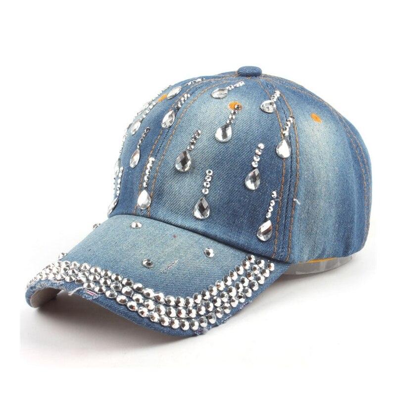 Prix pour 2017 Strass gouttelettes D'eau Denim chapeau Diamant casquette de baseball Femmes D'été hip hop chapeau Os gorro Jeans Cap Casquette ZXM-JY-307