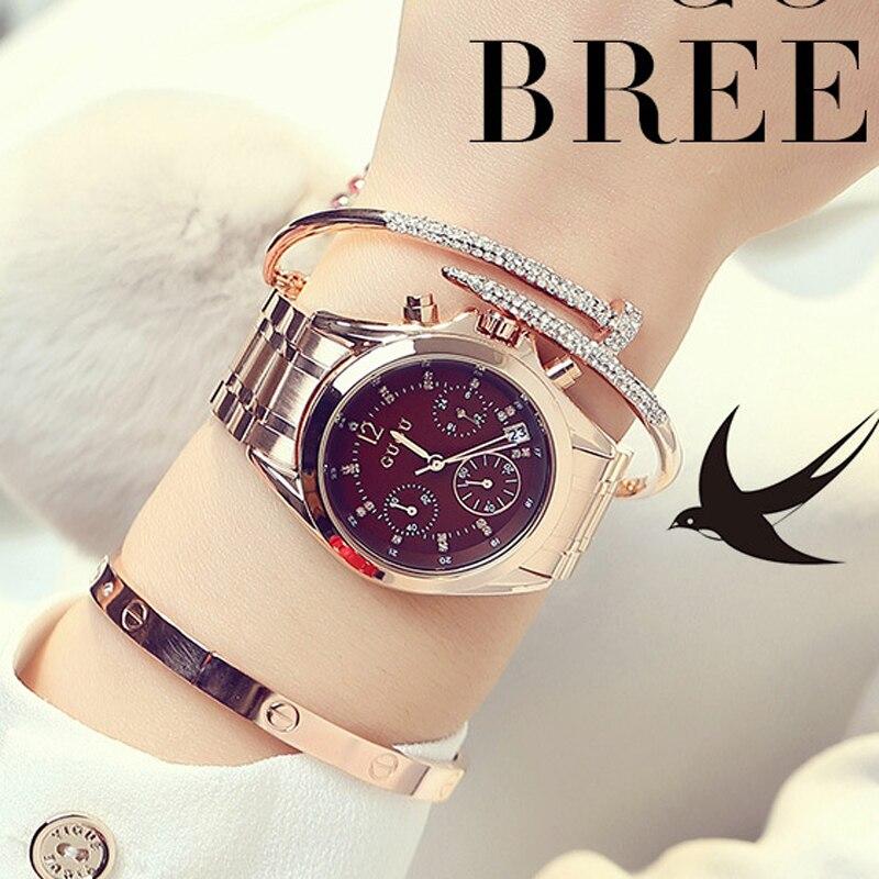 GUOU montre-Bracelet dames montre en or Rose montres pour femmes Bracelet populaire montres pour femmes en acier complet saat relogio femininoGUOU montre-Bracelet dames montre en or Rose montres pour femmes Bracelet populaire montres pour femmes en acier complet saat relogio feminino