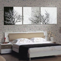 HOT 3p Black White Tree Abstract Hand Painted Wall DECOR Art Oil Painting Canvas
