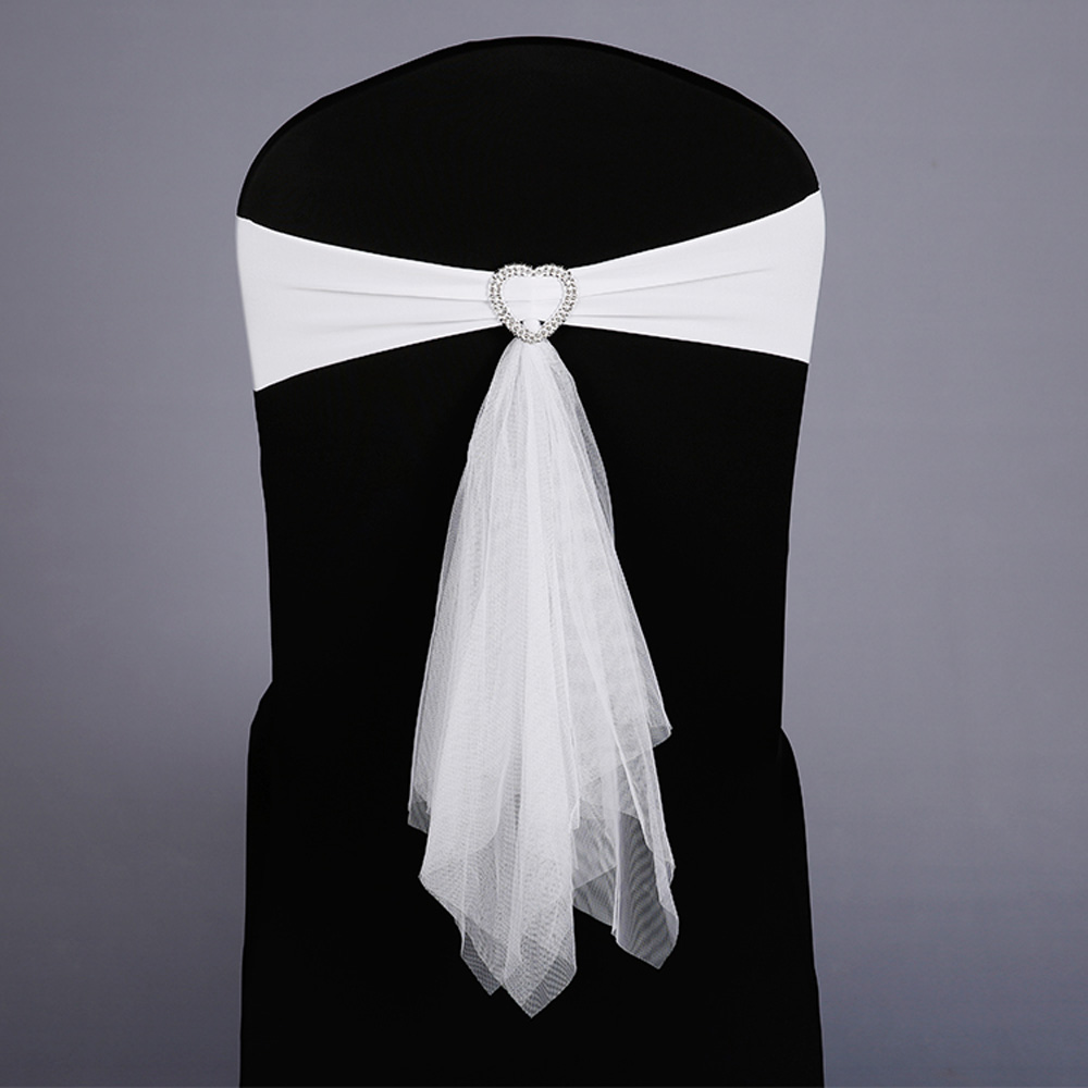Hot Sale 100pcs lot Wedding Party Decoration Stretch Muslin Chair Sashes Band With Heart Buckle Red