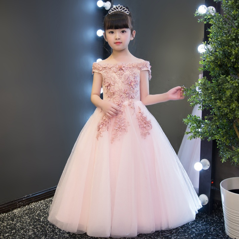 Kids Girls Flower Dress Baby Girl Applique Decoration Dress Birthday Party Dresses Children Fancy Princess Gown Wedding Clothes kids girls flower dress wedding birthday party dresses children fancy princess ball gown dress dq821