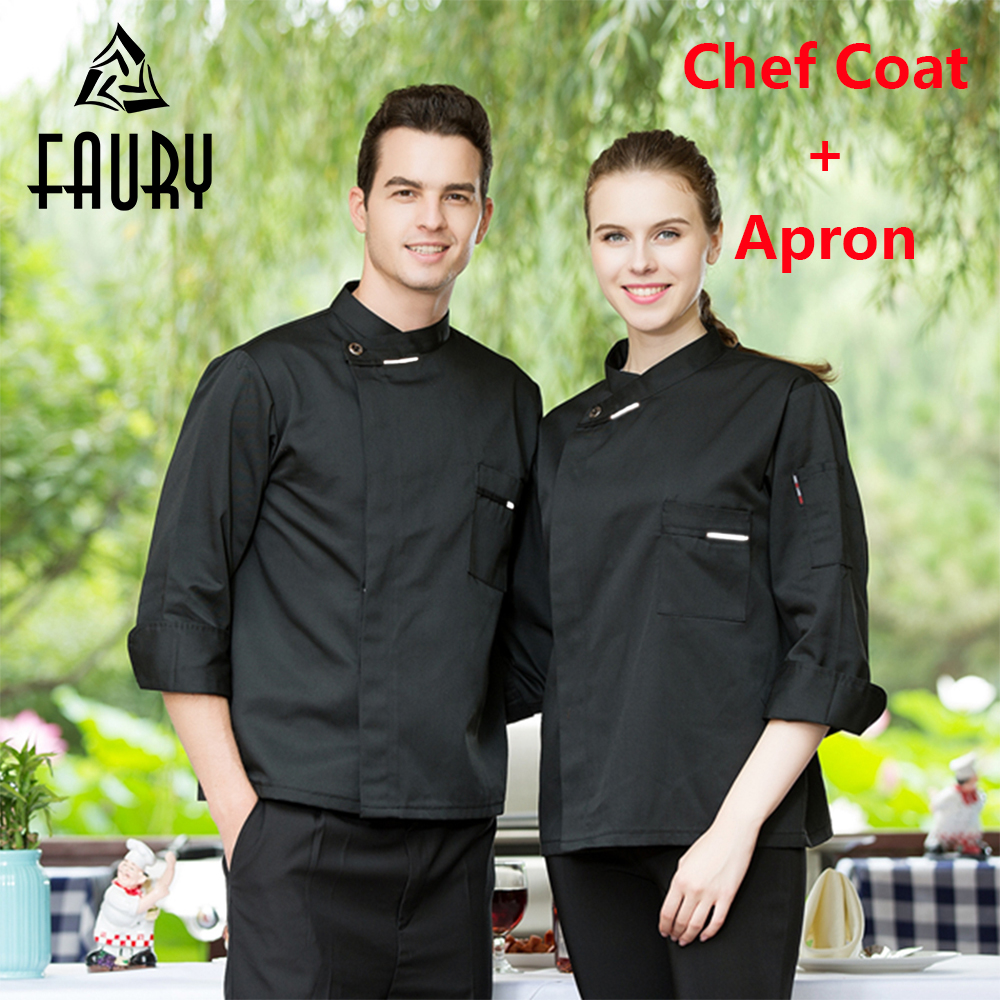 Unisex Food Service Hotel Waiter Restaurant Chef Cooking Kitchen Uniform Long Sleeve Coat Single Breasted Breathable Work Jacket