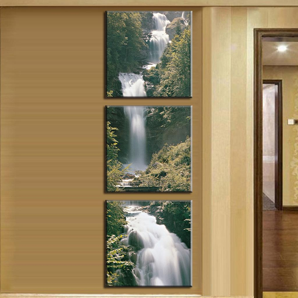 3 pcs set mountain waterfall canvas print painting landscape wall art pictures for living room. Black Bedroom Furniture Sets. Home Design Ideas