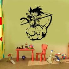 드래곤 볼 일본 애니메이션 Goku Somersault 구름 벽 데칼 침실 틴 룸 애니메이션 팬 장식 비닐 벽 스티커 LZ08