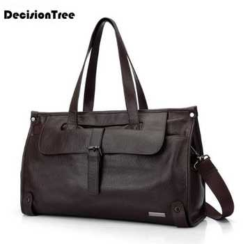 Soft Genuine Leather Men\'s Luggage Bags Casual Travel Duffel Bags Cow Leather Large Capacity Document Handbags for Sthdent lfb08 - DISCOUNT ITEM  23 OFF Luggage & Bags