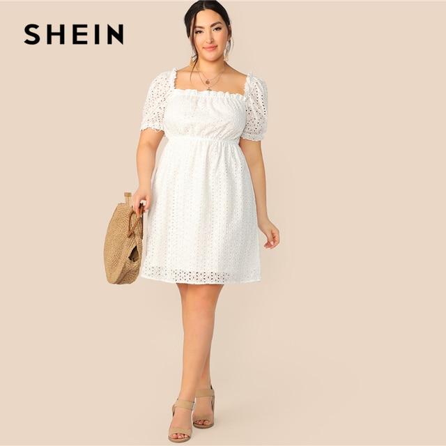 SHEIN Plus Size White Frill Trim Schiffy Solid Summer Dress 2019 Women Square Neck High Waist Shift Short Bohemian Dresses 4
