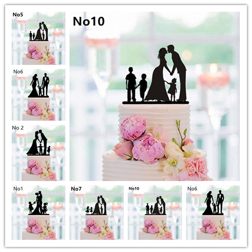 New Family Style Cake Topper Silhouette Wedding Bride And Groom Couple