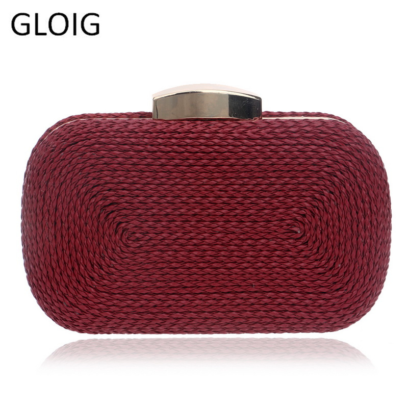 GLOIG Fashion Knitted Women Evening Bags PU Metal Chain Shoulder Handbags Mixed Color Small Party Wedding Day Clutches PurseGLOIG Fashion Knitted Women Evening Bags PU Metal Chain Shoulder Handbags Mixed Color Small Party Wedding Day Clutches Purse