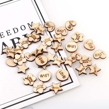 100Pcs Wooden  Mix Love Heart Shapes Laser Blank Embellishments Craft Card Decor Cards Wood Home Decoration