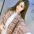 2016 Novos das Mulheres da Marca Cachecol inverno quente Xale de Cashmere Cobertores Moda Pashmina grosso Listrado de Grandes Dimensões 185*90 cm lenços