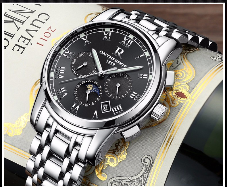 Top Luxury Brand Fashion Moon Phase Automatic Self-Wind Mechanical Watches Men watch Relogio Masculino Business Wristwatch Reloj forsining men luxury brand moon phase genuine leather strap watch automatic mechanical wristwatch gift box relogio releges 2016