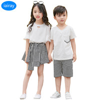 iairay summer 2018 brother sister twins clothes family clothing women chiffon shirt striped skirt pants boys v neck t shirt