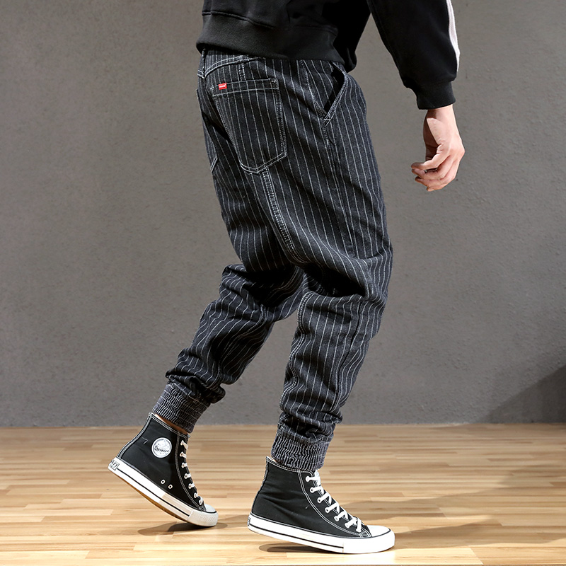 Japanese Style Fashion Men Jeans Stripe Designer Loose Fit Cargo Pants Hombre Slack Bottom Streetwear Hip Hop Joggers Jeans Men