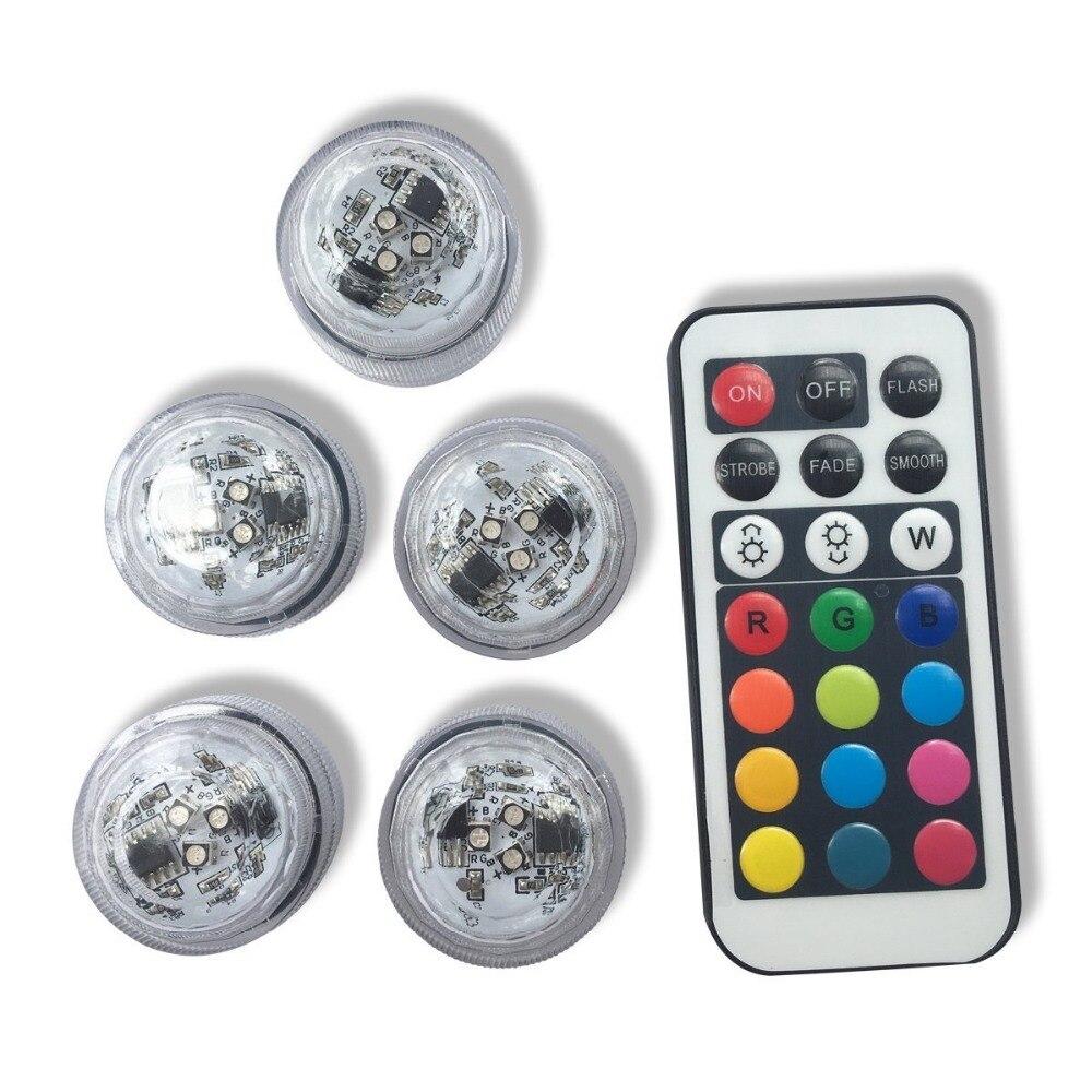 12 unids / lote colores Multi RGB LED Sumergible FloralytesFloral Té - Iluminación de vacaciones