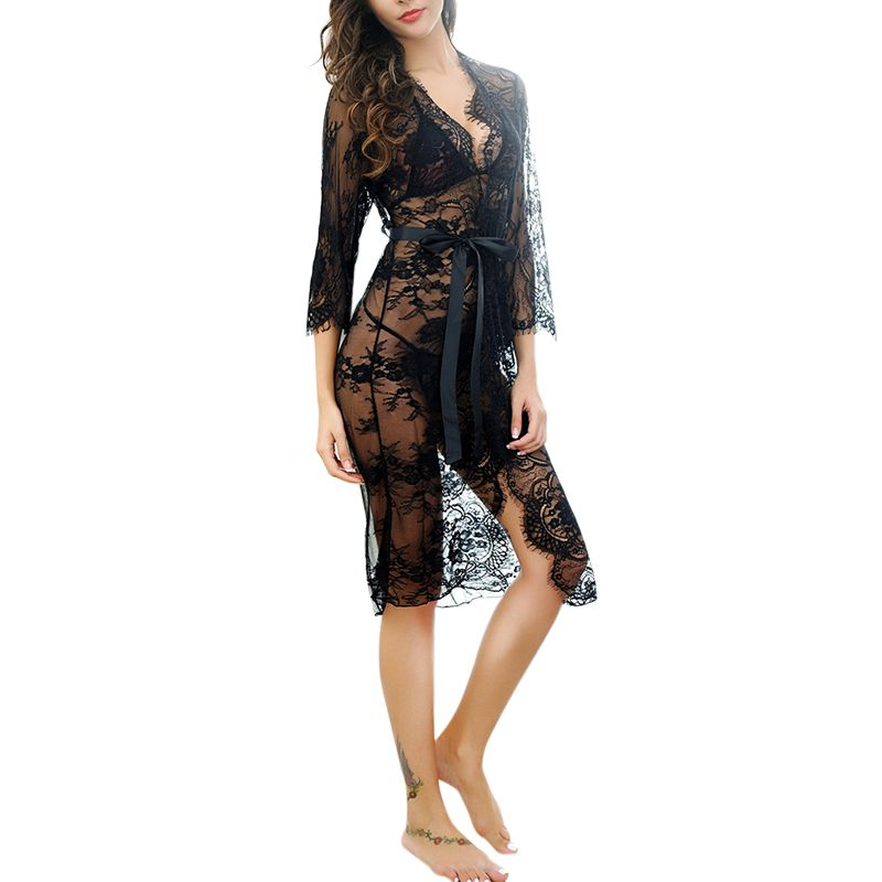 Sexy Lingerie   Nightgowns   Women   Sleepshirts   Three Quarter Sleeve   Nightgown   Robes Trans-parent Sleep Wear Lace Night Dress