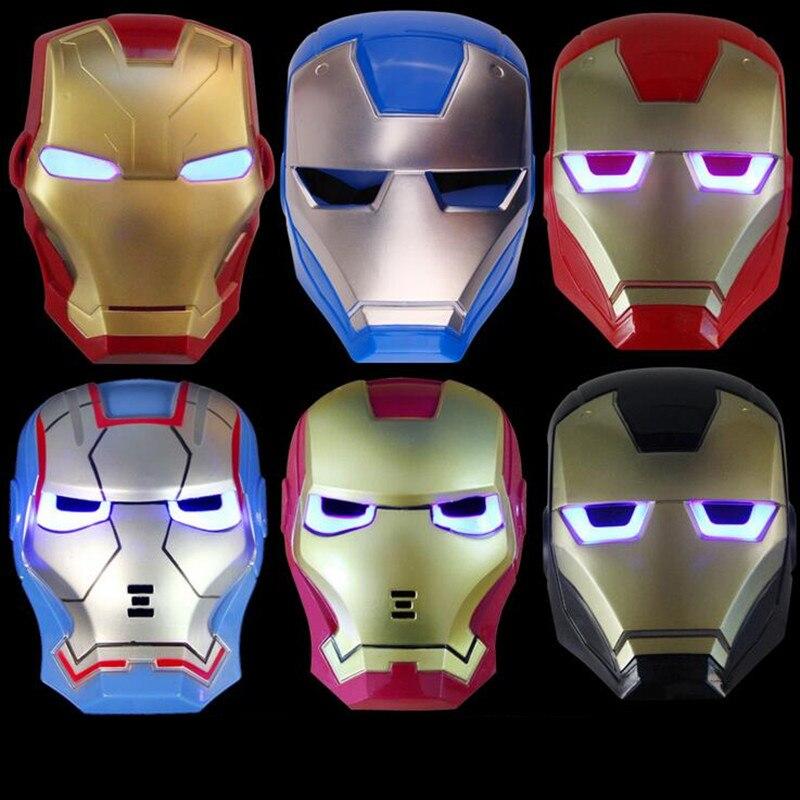 <font><b>LED</b></font> Light-Up Cartoon Ironman <font><b>Mask</b></font> <font><b>Glowing</b></font> <font><b>Superhero</b></font> <font><b>Mask</b></font> Makeup Toy <font><b>For</b></font> <font><b>Kids</b></font> Boys Party Supplies Halloween <font><b>Christmas</b></font>