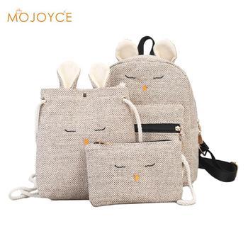 e1225b660 Las mujeres 3 unids/set Animal lindo mochilas bolsas de la escuela mochila  para los adolescentes mochila viaje mochila conejo de mochila escolar